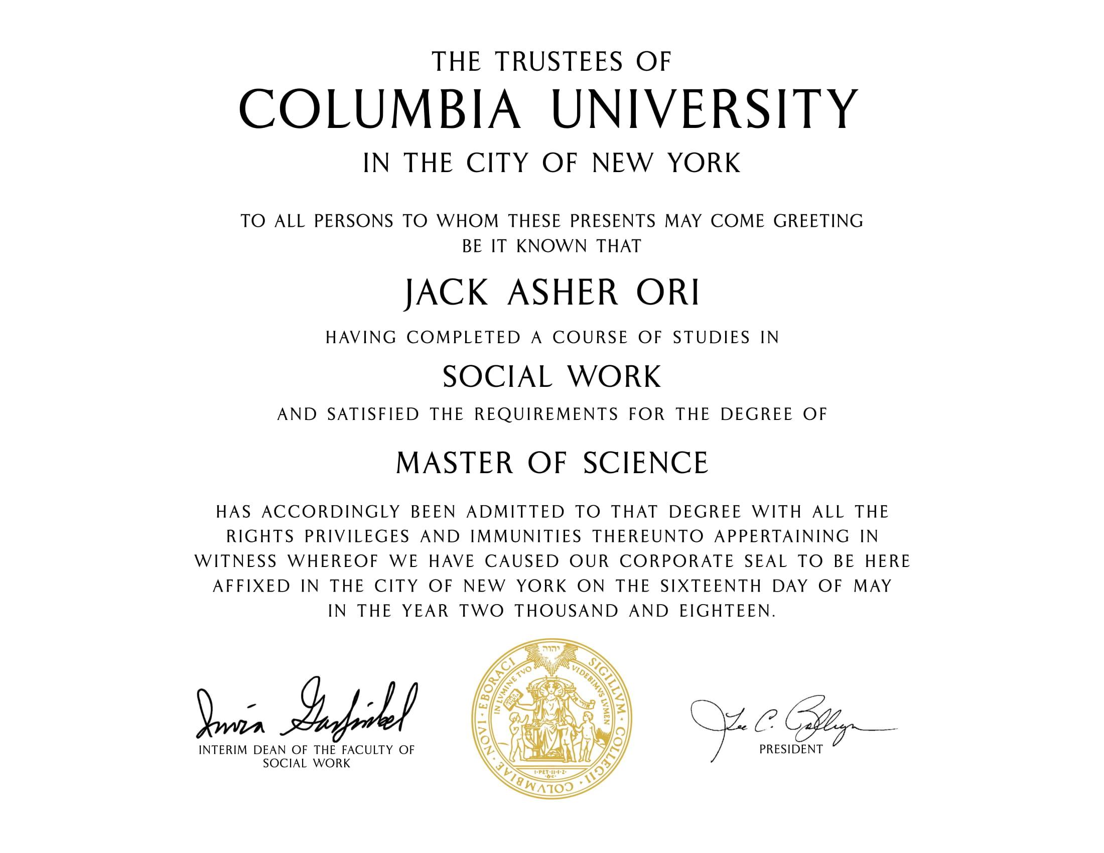 Jack A Ori - MSW Diploma